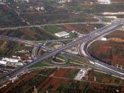 An aerial view of an interchange on the Attiki Odos.