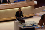 Ban Ki-moon at the 60th anniversary of the European Convention of Human Rights at the Council of Europe in Strasbourg