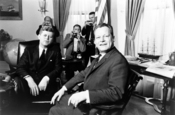John F. Kennedy meeting with Willy Brandt at the White House.