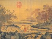 Confucianism, Taoism, and Buddhism are one, a litang style painting portraying three men laughing by a river stream, 12th century, Song Dynasty.