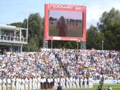 English: Katherine Jenkins sings the Welsh National Anthem before the start of the 2009 Ashes