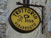 English: Italian Trattoria sign. This photo was taken somewhere in Tuscany, the exact location of the depicted sign is no longer known to the author.