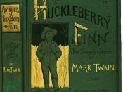The cover of the first edition of Adventures of Huckleberry Finn (1884)