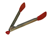 English: Silicon-coated tongs used for cooking or serving food.