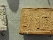 Cult scene: the worship of the sun-god, Shamash. Limestone cylinder-seal, Mesopotamia.