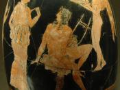 Aphrodite and Adonis. Attic red-figure squat lekythos, ca. 410 BC.