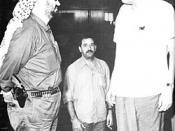 English: Yasser Arafat and Gamal Abdel Nasser discuss Black September civil war situation at emergency Arab League summit.
