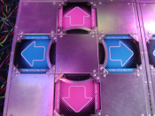 The left dance platform of a Dance Dance Revolution Extreme arcade machine.