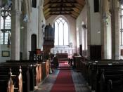 English: St Mary Magdalen - view east This church is one of the models for Fenchurch St Paul in Dorothy L Sayers' (1893-1957) Lord Peter Wimsey detective mystery