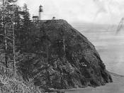 Cape Disappointment lighthouse at Fort Canby, Washington, at the mouth of the Columbia River