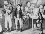 Detail of an original George Cruikshank engraving showing the Artful Dodger introducing Oliver to Fagin.