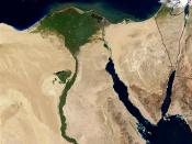 An enlargeable satellite image of the lower Nile River and Delta.