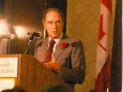 English: Pierre Trudeau speaking at a fundraising meeting for the Liberal Party at the Queen Elizabeth Hotel in Montréal, Québec.