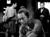English: screenshot from Rashomon 1950 film. Takashi Shimura as woodcutter is sitting, Kichijiro Ueda as commoner on the left and Minoru Chiaki as priest on the right