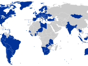 "World map showing the 2008 (based in 2007 data) countries considered ""electoral democracies"" (in blue), according to American organization Freedom House. Reference: Freedom in the World 2010; Freedom in the World 2011"