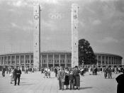 The Olympiastadion hosting its first major athletics event: the 1936 Summer Olympics.
