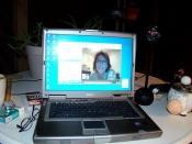 Kim & I Skyping on my laptop