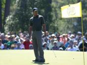 Tiger Woods during a practice round at the Masters