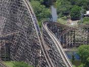 The Texas Giant'', a large wooden roller coaster at Six Flags Over Texas in Arlington, TX