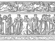 The nine canonical Muses. From left to right: Clio, Thalia, Erato, Euterpe, Polyhymnia, Calliope, Terpsichore, Urania, and Melpomene. Drawing of a sarcophagus at the Louvre Museum.
