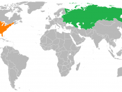 English: A circa 1990 map of the world showing the location of the Union of Soviet Socialist Republics and the United States of America.