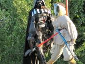 English: Luke and his dad Darth Vader and Luke Skywalker - probably the best versions I have seen round Blewbury.
