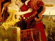 An 1870 oil painting by Ford Madox Brown depicting Romeo and Juliet's famous balcony scene