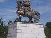 English: Genghis Khan statue before his Mausoleum in Ordos, Inner Mongolia, China.