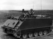 M113 firing .50-caliber machine gun during South Vietnamese training exercise. Barrel of side-mounted .30-caliber machine gun can be seen on far side of M113.
