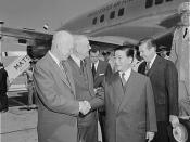 U.S. President Dwight D. Eisenhower and Secretary of State John Foster Dulles (from left) greet South Vietnamese President Ngo Dinh Diem at Washington National Airport. 05/08/1957 ARC Identifier: 542189 Item from Record Group 342: Records of U.S. Air Forc