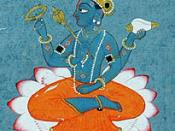 Closeup of Vishnu, seated in the lotus position on a lotus. From depiction of the poet Jayadeva bowing to Vishnu, Gouache on paper Pahari, The very picture of devotion, bare-bodied, head bowed, legs crossed and hands folded, Jayadeva stands at left, with