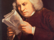 A portrait of Samuel Johnson by Joshua Reynolds showing Johnson pulling a book's cover back and concentrating intensely on its words. It also, Johnson felt, shows his weak eyes.