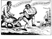 Political cartoon depicting merchants attempting to dodge the
