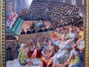 By Pasquale Cati, 1588, who can handle small scenes like the ones on the ceiling OK, but who completely botches the big side panels. Though it would be hard to make a beautiful painting of the Council of Trent, this is still pretty mediocre. And the woman