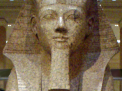 Closeup shot of a large granite sphinx bearing the likeness of the female pharaoh Hatshepsut. Dating to the joint reign of Hatshepsut and Thutmose III, circa 1479-1458 B.C.