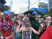 Mardi Gras Day, New Orleans: Krewe of Kosmic Debris revelers on Frenchmen Street