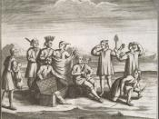 Iroquois with Western goods, presumably acquired through trade (French engraving, 1722)