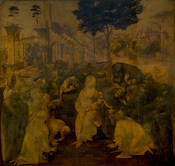 This complex Adoration of the Magi by Leonardo da Vinci was never completed.