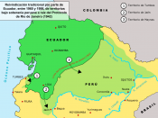 Map showing ecuadorean territorial claims on Peru (in Spanish)