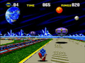 Sonic CD's special stage utilizing the Mega-CD's enhanced graphical capabilities