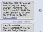 An example of the information within an Amber Alert within an SMS text message. A description of the physical characteristics of the child and suspect, along with the make and model of the vehicle being used, is listed in the message, followed by a contac