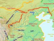 English: A map of the great wall of china of Qin Dynasty. The red lines indicate the Qin era wall. The yellow line indicates the current border of China. Deutsch: Eine Karte der chinesischen Mauer zur Zeit der Qin Dynastie. Die rot eingezeichneten Teile d