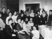 Rasputin and his admirers, 1914 This image has been widely reproduced in the press and various books since 1917.
