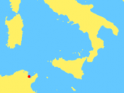 English: Map of central Mediterranean, showing location of Carthage (36 51 N, 10 20 E) Carthage is located near modern Tunis. Sardinia, Corsica, Italy, and Sicily are also shown here.