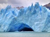 A Glacier cave on Perito Moreno Glacier, in Los Glaciares National Park, southern Argentina.