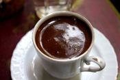 A cup of Turkish coffee served on a terrace in Istanbul.