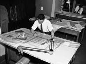 Drafter working in Engineering Department, 1959