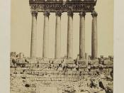 'Ba'lbek, Collones du Grande Temple, vue du sud', (Baalbek (Lebanon) Columns of the Great Temple, view from the south)