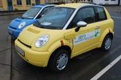 English: Think electric cars charging in Ærøskøbing