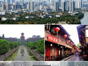 Montage of various Chengdu images, clockwise from top: Anshun Bridge on the River Jin; Jinli Street near Wuhou Temple; Chengdu Research Base of Giant Panda Breeding; and Huaxi campus of Sichuan University, West China Medical School clock tower